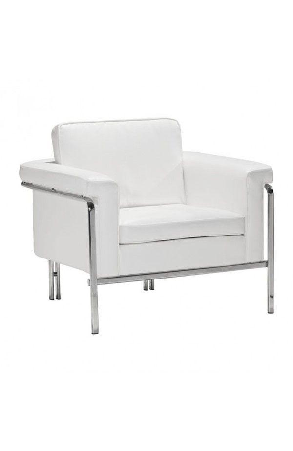 sleek living room furniture. Singular Sleek Chrome Frame White Plush Leatherette Armchair Living Room Furniture