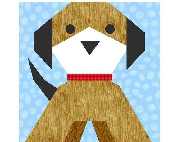Puppy Dog paper pieced quilt block pattern by PieceByNumberQuilts, $3.00