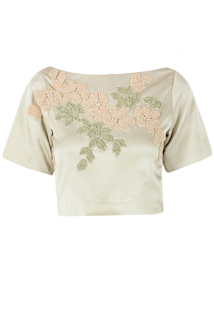 Sage Embroidered cropped T-shirt  by SAILEX Shop now at perniaspopupshop.com #perniaspopupshop #clothes #womensfashion #love #indiandesigner #sailex #happyshopping #sexy #chic #fabulous #PerniasPopUpShop #ethnic #indian