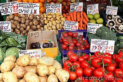 English market vegetable stall