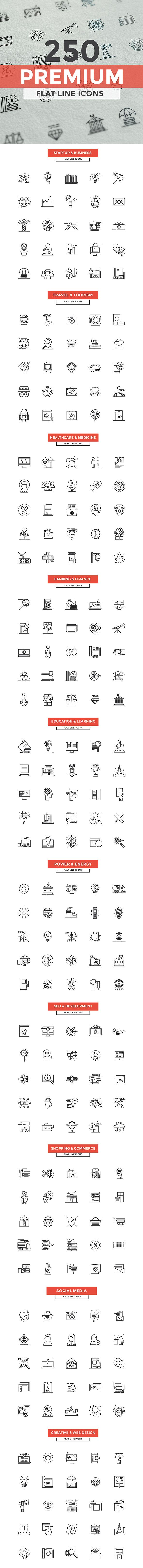 Set of modern Line Design icons.Creative concepts and design elements for…