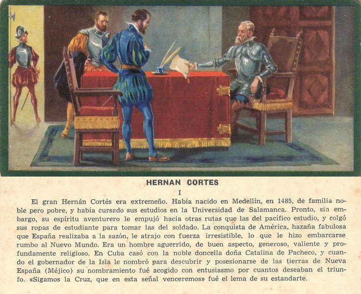 HERNÁN CORTÉS Colección de diez cromos numerados en romanos. Al verso de los cromos aparece impreso un texto alusivo a la escena representada, publicado por Ediciones Barsal entre 1930 y 1940.