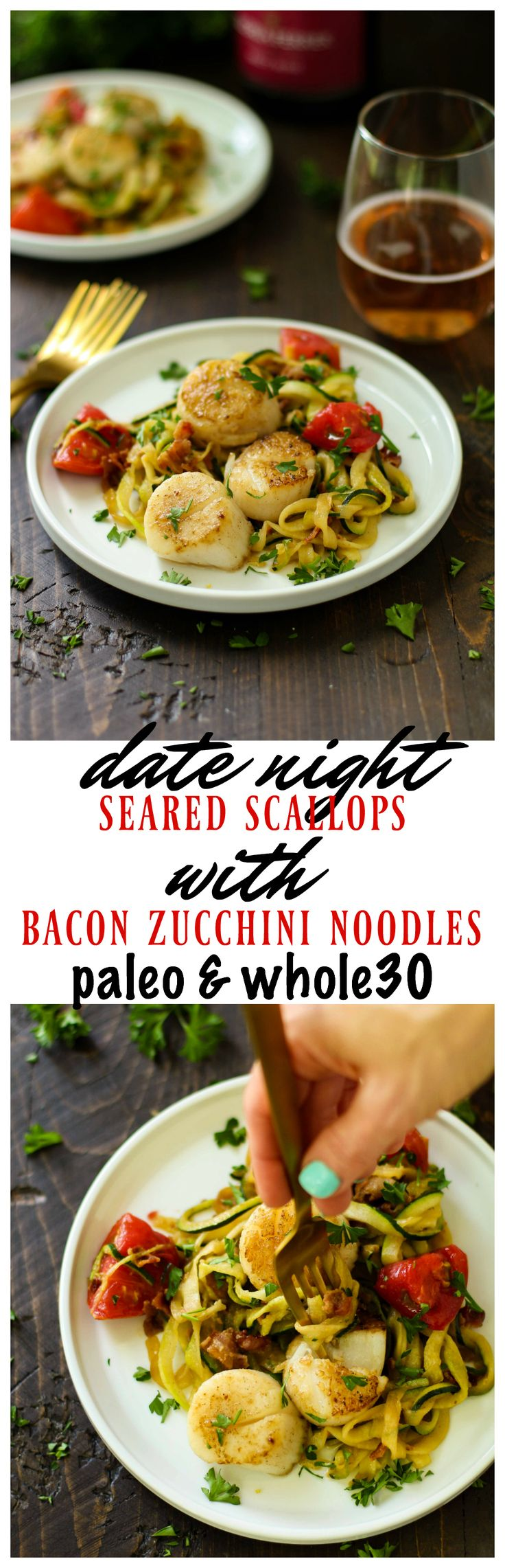 The absolute most perfect date night meal – Seared Scallops with Bacon Zucchini Noodles. It's a little bit of fancy with a huge amount of flavor and so super easy to cook up. Pair it w/ Gloria Ferrer Caves & Vineyards and go ga-ga over this healthy, cozy meal! #GloriaFerrer #CLVR #AD