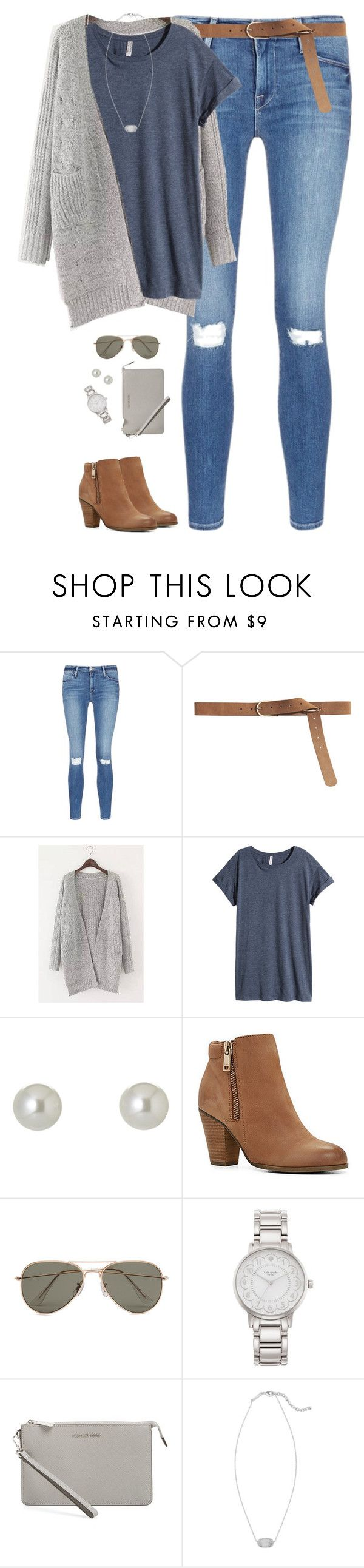 """Gray chunky cardigan, blue tee & ripped jeans"" by steffiestaffie ❤ liked on Polyvore featuring Frame Denim, H&M, Givenchy, ALDO, SELECTED, Kate Spade, MICHAEL Michael Kors and Kendra Scott"