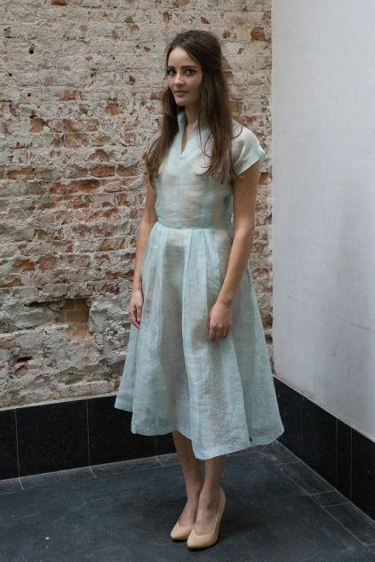 Licht blauwe jaren 40 jurk