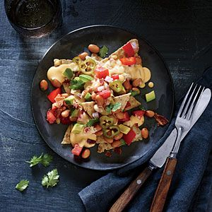 Cheesy Nachos with Pinto Bean Salsa and Pickled Jalapeños | MyRecipes ...