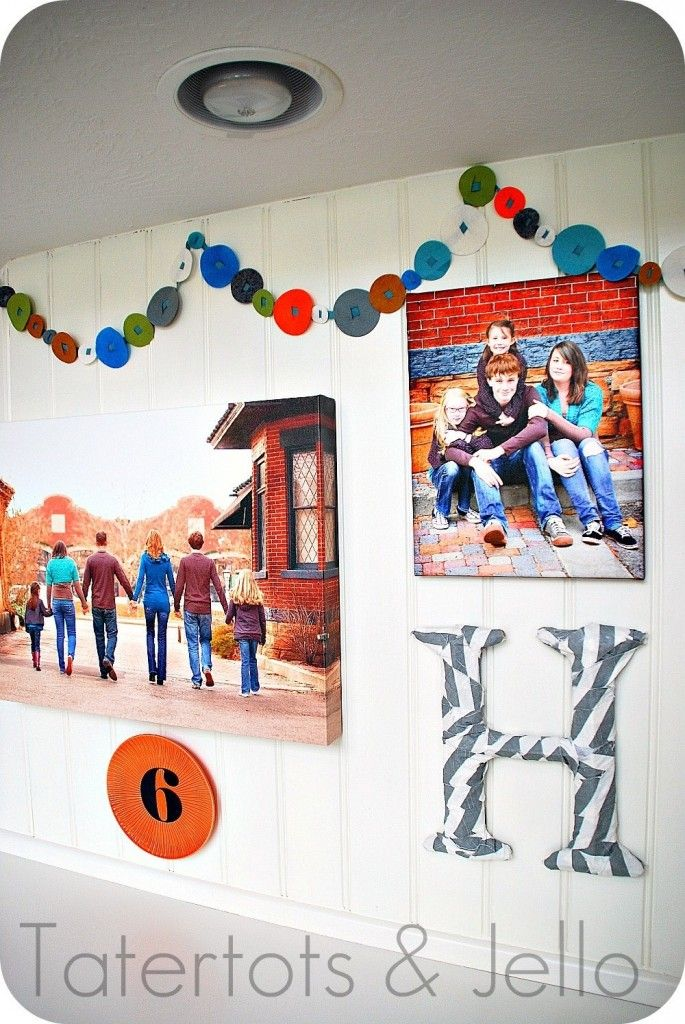 family picture wall above