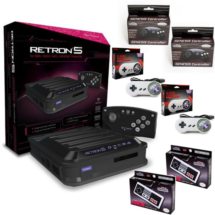 Retron 5 HD 5-in-1 Retro Game System with 2 Each of SNES, NES, and Genesis Controllers