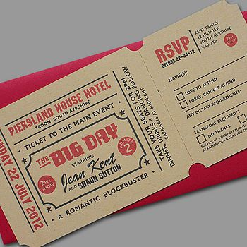 'Popcorn' Letterpress Wedding Stationery.   This is cool but not for me lol