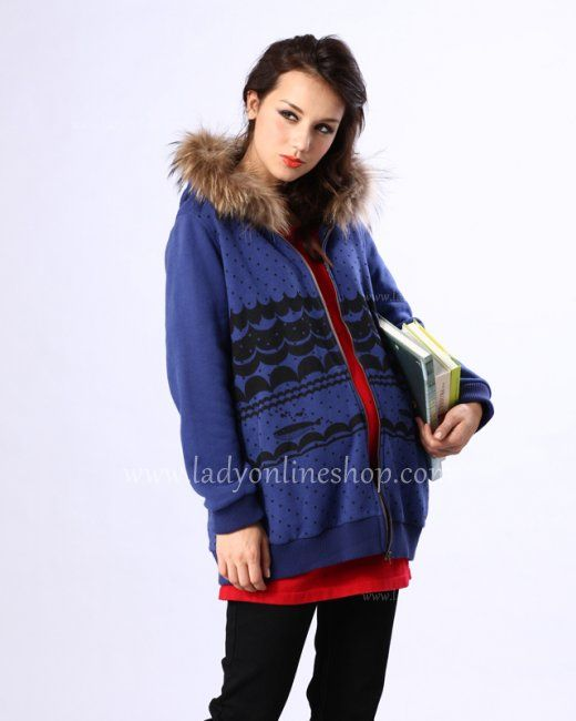 2013 Fall And Winter Fashion Blue Long Sleeves Maternity Jacket Coat [Maternity Outerwear] - $128.00 : Baby Carry, Corset, Maternity Wears, Women Lingerie | Cheap Online
