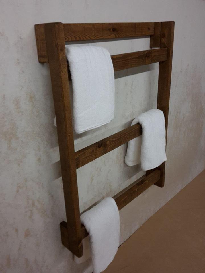Towel Ladder Wall Mounted Rustic Wooden Towel Rail Free UK Pu0026P Various Sizes