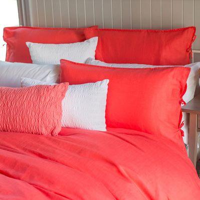 Bambury Plain Linen/Cotton Coral Quilt Covers | shopinside.com.au