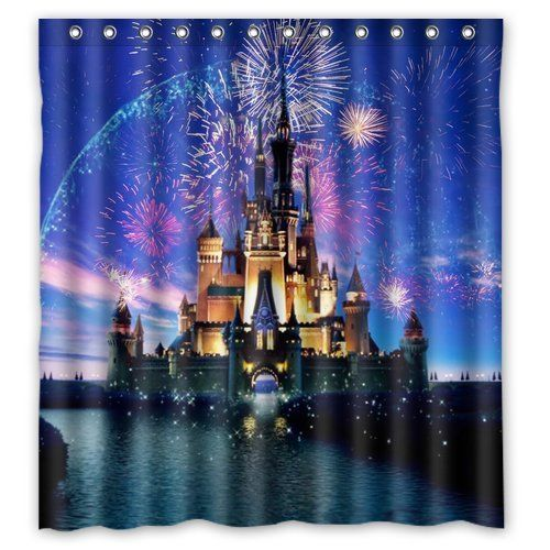 "Unique Personalize Waterproof Bathroom Shower Curtain 66"" x 72"" Disney Castle Colorful Scenery Bath Curtain Perfect as Christmas gift-01"