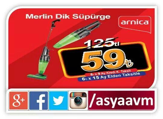 Arnica Merlin dik süpürge AYDA 6.00TL 15 AY TAKSİTLE! #asyaavm #kampanya #songün31Mayıs