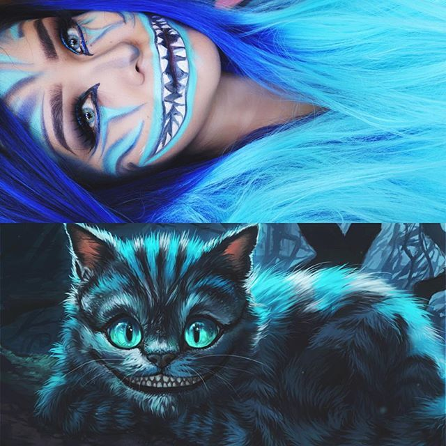 2nd Halloween look, holla  blue Cheshire Cat inspired. It's kind of messy but eh, decided to still film a mini tutorial let me know if you guys want to see it  #cheshirecat #halloweenmakeup • wig from @powderroomd