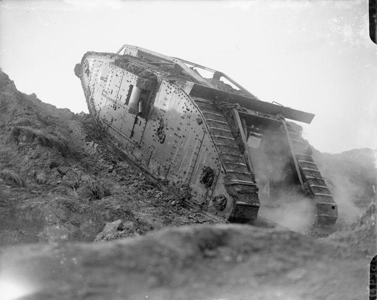 PREPARATIONS BATTLE CAMBRAI TANK DRIVING SCHOOL WAILLY FRANCE 1917 (Q 6299) Tank F4 climbs a slope at the Tank Driving School at Wailly. Over 400 tanks were gathered for training in preparation for the Battle of Cambrai. The photograph was taken from the left rear of the tank.