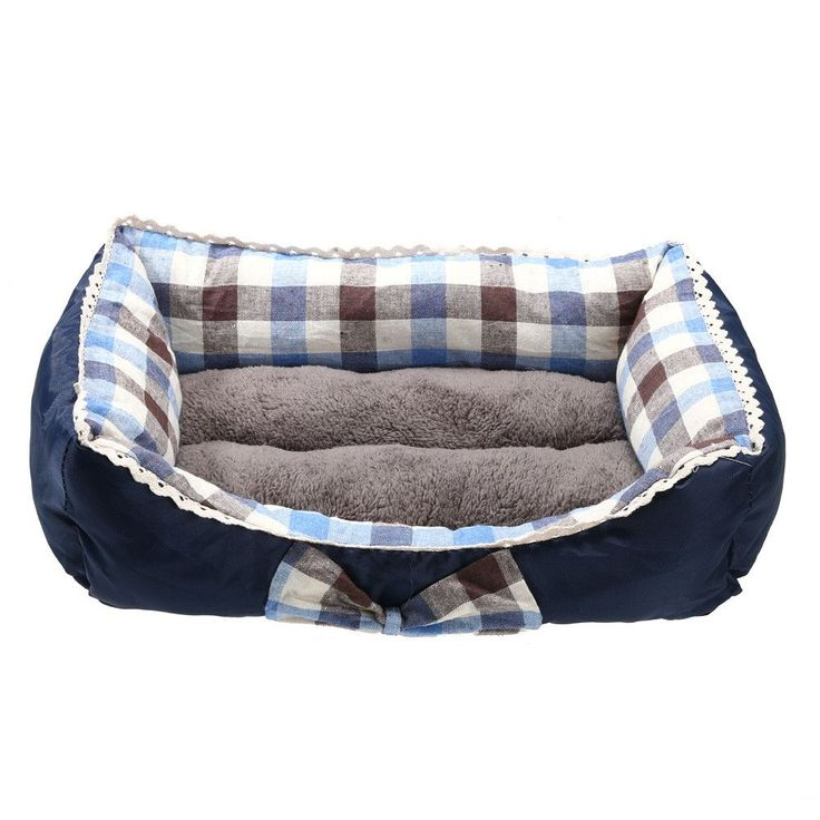 Pet Dog Bed Warm Soft Square Lattice Pet Dog Cotton Mat Cat Bed Indoor House Kennel Nest Cozy S M L Size Red, Blue