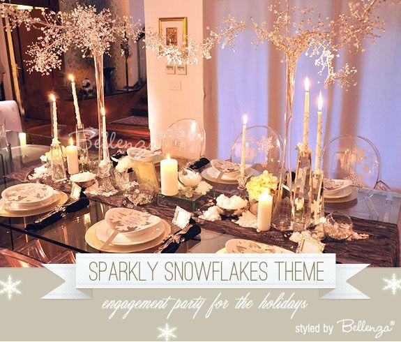 Winter sparkle - a snowflakes themed engagement party with a Winter Wonderland styling by Bellenza. #bellenzaweddings #winterwonderlandtheme