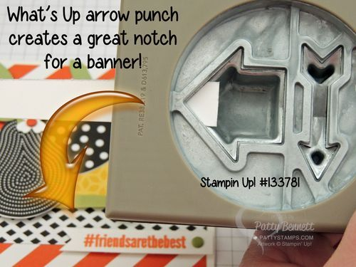 Stamping Tip: Create a banner for your card using the What's Up arrow punch from Stampin Up! by Patty Bennett
