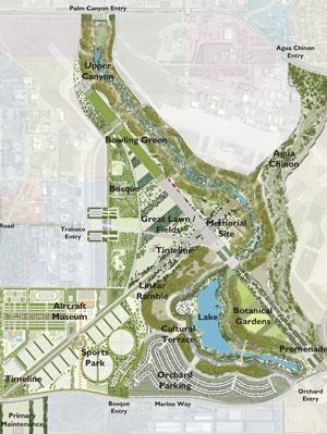 According to The Orange County Register, the master plan for the nearly 1,500-acre park, which was created by Ken Smith Workshop West along with Mia Lehrer + Associates, is being dramatically altered, raising questions as to whether the nearly fifty million dollars spent in planning documents and designs is being wasted.