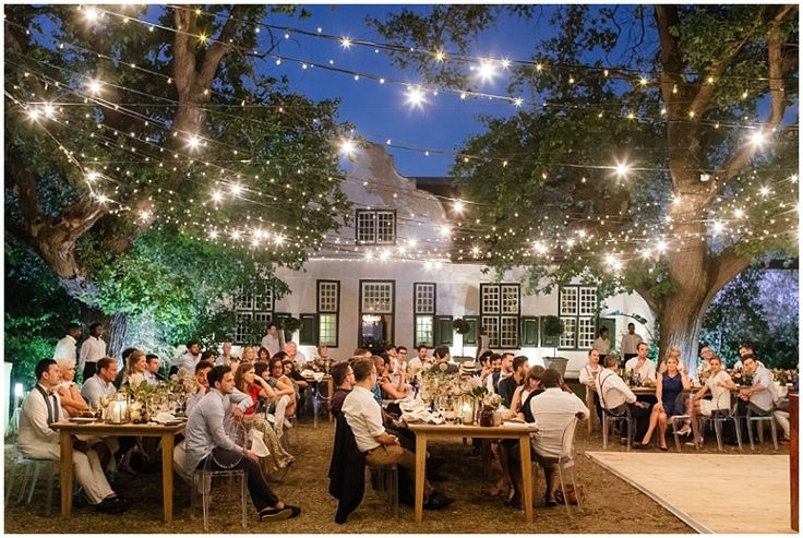 Outdoor Cape Dutch venue with fairylight draping.