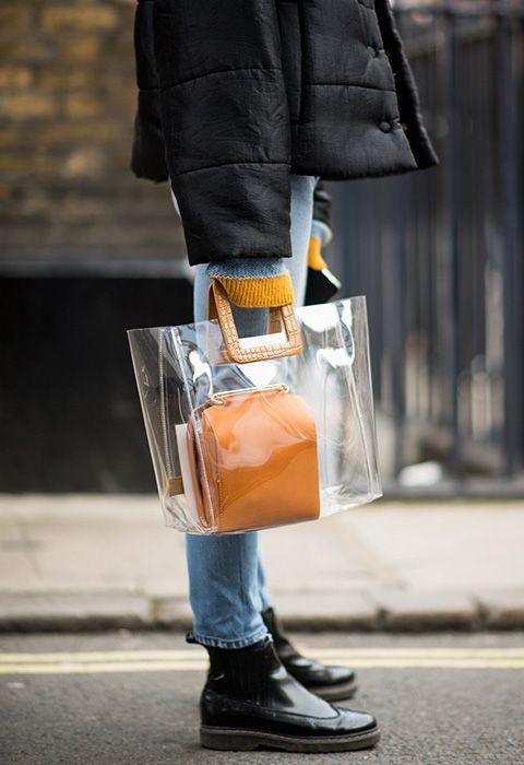 0ecb3ef5b15a Model wearing a plastic bag at London Fashion Week