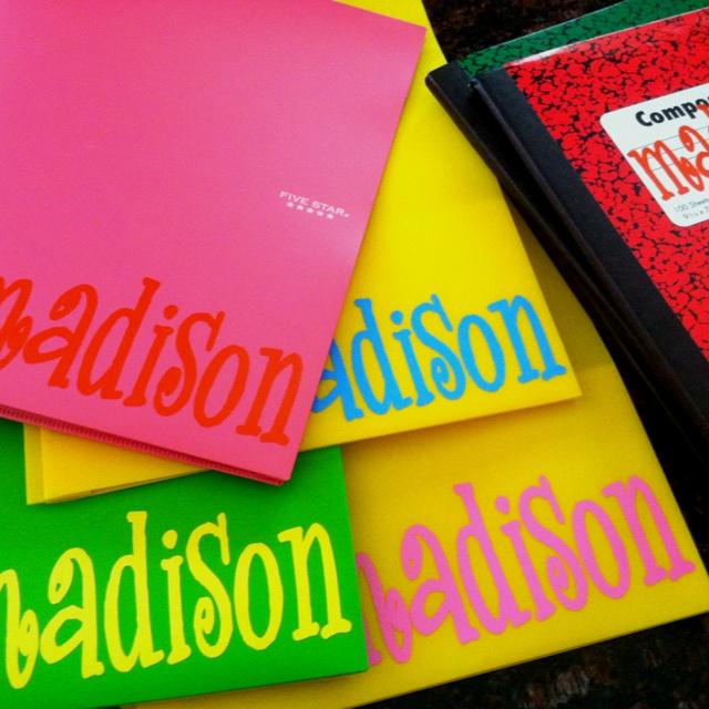 Vinyl lettering for school supplies! :)