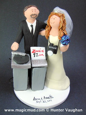 Disc Jockeys Wedding Cake Topper...Matrimonial mixmaster nuptial mashdown spun exclusively for his photographer bride...we know how romantic this dj is.... and his fiance finally fell totally under his musical spell.... Congratulations and Best Wishes!!! $235 #dj#deejay#photographer#turntable#wedding #cake #toppers  #custom #personalized #Groom #bride #anniversary #birthday#wedding_cake_toppers#cake_toppers#figurine#gift