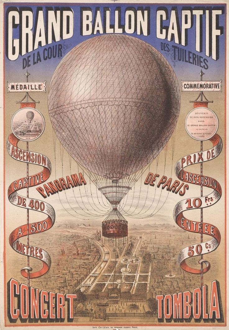 Grand ballon capitf de la cour de Tuileries. 1879 poster showing Henri Giffard's hot-air balloon over the courtyard of Tuileries, Paris