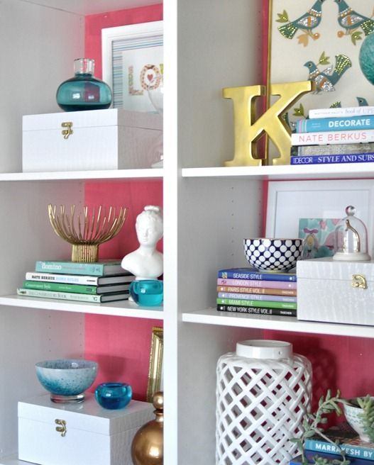 Bookcase + Pop of Color.