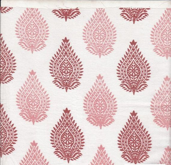 Organic Cotton, Pink Block Print, Herbal Dyed, Paisley Design, Indian Fabric, Natural Dyes, Cambric Cotton, Quilting Cotton, Marsala, Pink,