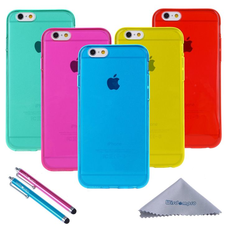 iPhone 6 Case, Wisdompro 5 Pack Bundle of Clear Jelly Color Soft TPU GEL Protective Case Covers (Blue, Aqua Blue, Hot Pink, Yellow, Red) for Apple 4.7-Inch iPhone 6