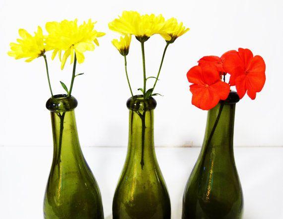 3 Bottiglie di vetro soffiato vintage anni '50 di RobeRetro