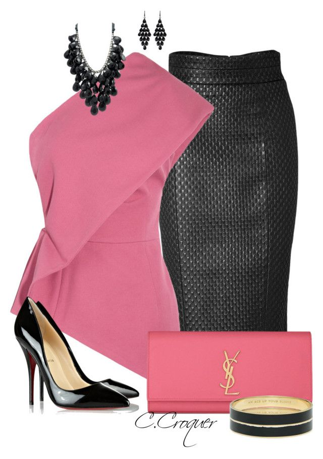 """Pink & Black Only Contest"" by ccroquer ❤ liked on Polyvore featuring L'Wren Scott, Nicole Farhi, Yves Saint Laurent, Kate Spade, Oasis and Christian Louboutin"