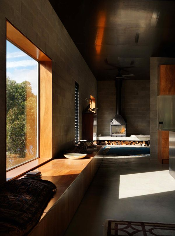 concrete house with wooden minimalist furniture