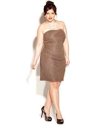 Love Squared Plus Size Dress, Strapless Metallic - Junior Plus Sizes - Plus Sizes - Macy's
