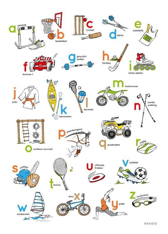 Stoere Nederlandstalige alfabetposter, met het thema sport. De ABC poster is geprint op 170 grams mat papier en het formaat is 50 x 70 cm. Ontwerp: Revista