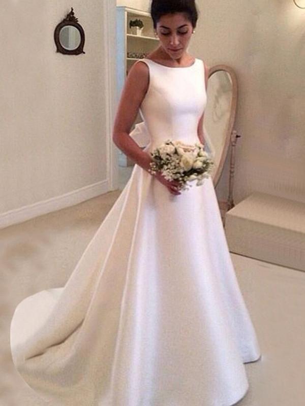 Simple Satin Bateau Neckline A-line Wedding Dresses WD180