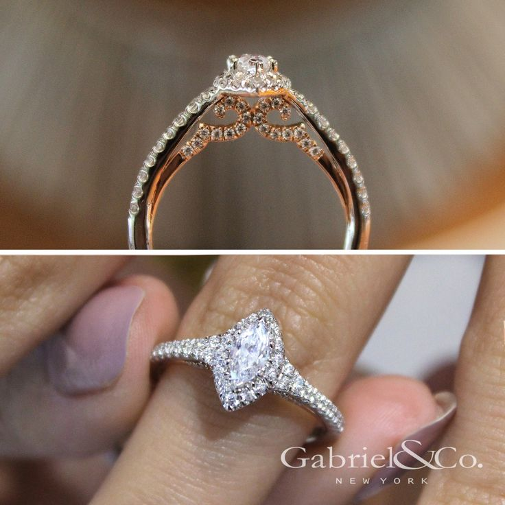 Gabriel NY - Voted #1 Most Preferred Fine Jewelry and Bridal Brand. 14k White/Rose Gold Marquise Halo  Engagement Ring