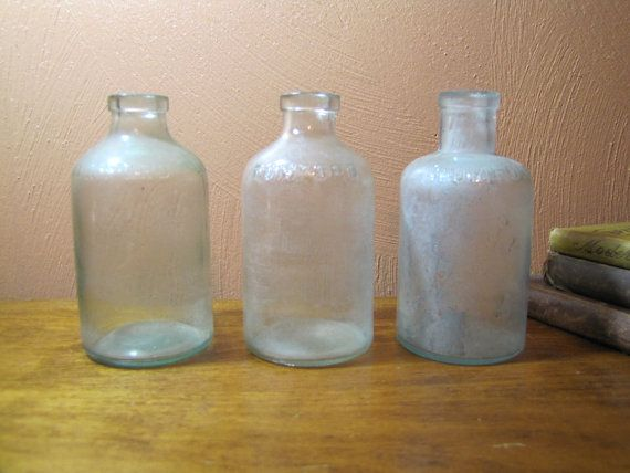 Vintage Aqua Glass Rumford Baking Powder Bottles 3 by PungoVintage