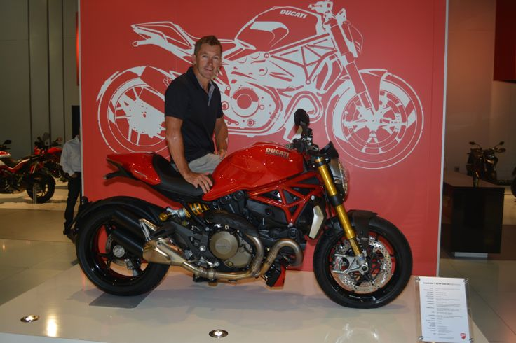 Troy Bayliss on Ducati Monster 1200  Read the story here: http://motorbikewriter.com/new-models-at-moto-expo/