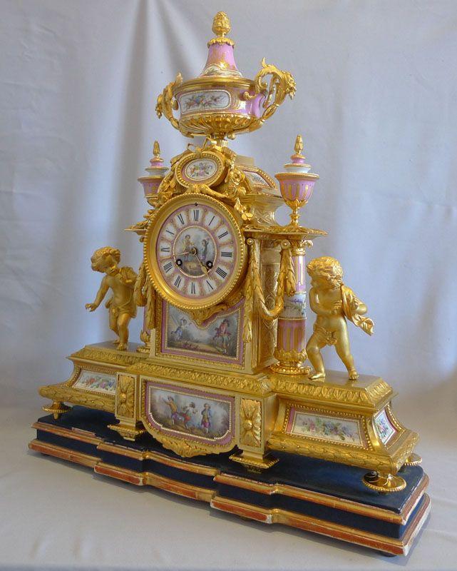 Monumental porcelain and ormolu mantel clock by Charpentier a Paris. - Gavin Douglas Antiques