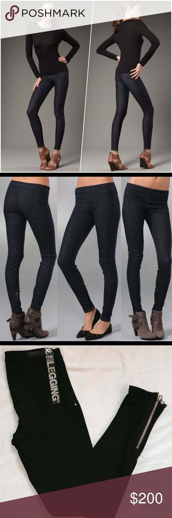 """Joe's The Legging These dark-rinse black denim leggings feature 7"""" ankle zippers and a gathered elastic waistband.  * 8.5"""" rise. 31"""" inseam. * Fabrication: Lightweight denim. * 93% cotton/7% elastam. * Wash cold. * Made in the U.S.A. * Sizing conversion: P=24 XS=25/26 S=26/27 M=28/29 L=30/31 Joe's Jeans Jeans"""