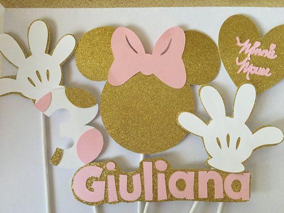Oro de Minnie Mouse y rosa centro de mesa fiesta por DivineGlitters