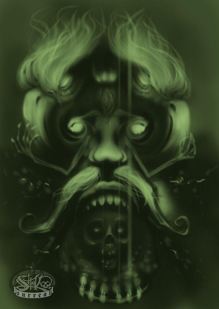 Surreal face, dark style, fantasy, digital drawing