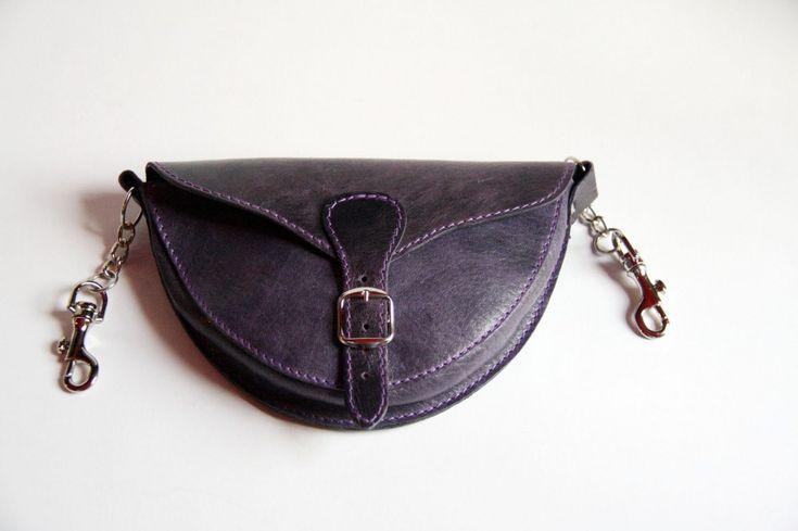 Női bőr váll-és övtáska (lila) - women's bag