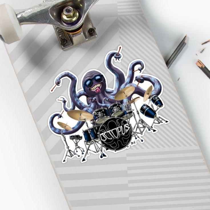Rocktopus Sticker #stickerart #sticker #stickers #octopus #rocktopus #drums #drummer #rockband