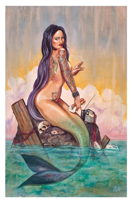 Coney Island Mermaid tattoo poster print new from sara ray art an east coast sideshow siren dark haired green eye heavy metal noise signed by the artist via Etsy