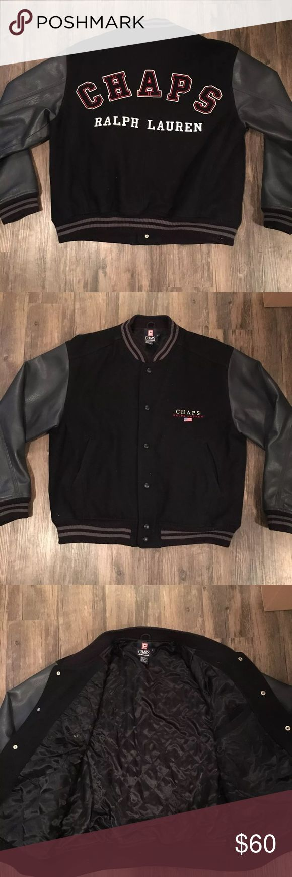 Vintage men's Chaps Ralph Lauren varsity jacket Vintage men's chaps Ralph Lauren Spellout jacket, size large, great condition only flaw is two small patch ups on left arm as shown, offers welcome. Ralph Lauren Jackets & Coats Bomber & Varsity