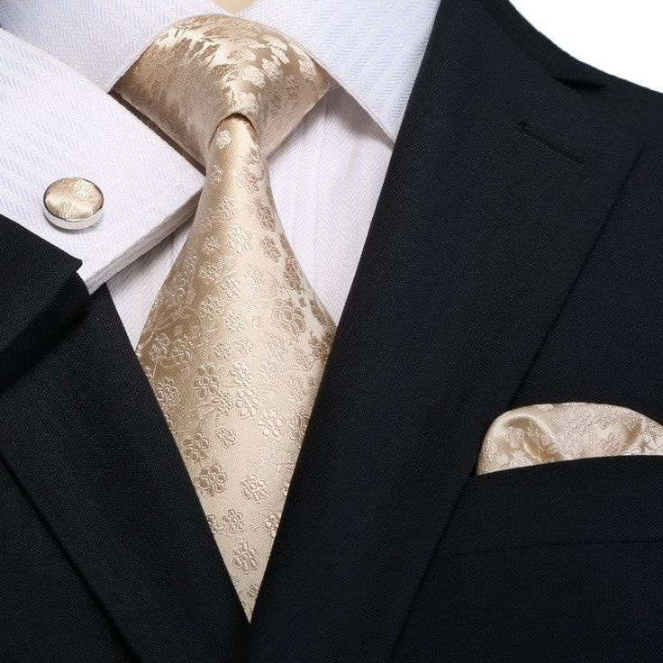 """3PC Silk Necktie Set Color: Beige 59"""" Length, 3.25"""" Width Matching Cufflinks and Pocket Square"""